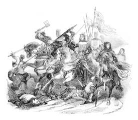 Battle of Bouvines, vintage engraving.