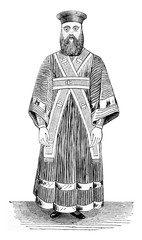 Subdeacon, Ecclesiastical costume Greece, vintage engraving.