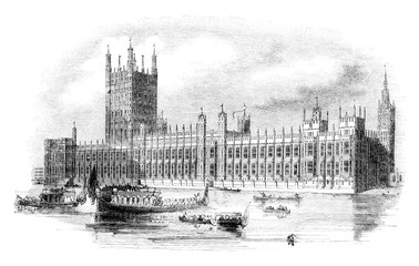 The new Houses of British Parliament, vintage engraving.