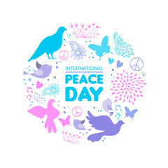 International Peace Day dove bird icon card