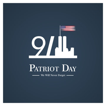 Patriot day USA Never forget 9.11 vector poster. Patriot Day, September 11, We will never forget
