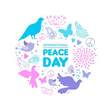 International Peace Day dove bird icon card
