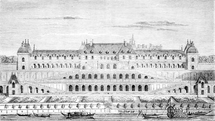 Chateauneuf de Saint-Germain, built under Henri IV, continued by Louis XIII and Louis XIV, vintage engraving.