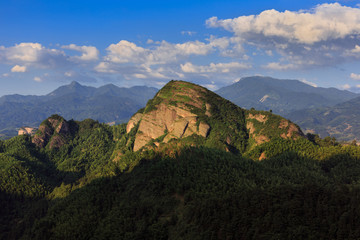 Sky Lane Danxia scenery in Lang Mountain, Langshan - China National Geopark, Xinning County Hunan province. Unique Danxia Landform, UNESCO Natural World Heritage site. Turtle Mountain, Lush Forest