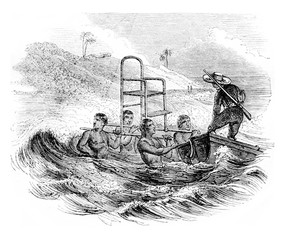 Way to land at the Ciara, The Paviola, vintage engraving.