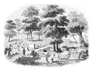 Crimea meridionale, The Valley of Jehoshaphat, cemetery of Jews caraites, in Tchifout Kale, vintage engraving.