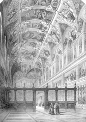 View of the Sistine Chapel, and after a drawing by Francois Pannini, retains the Louvre, vintage engraving.