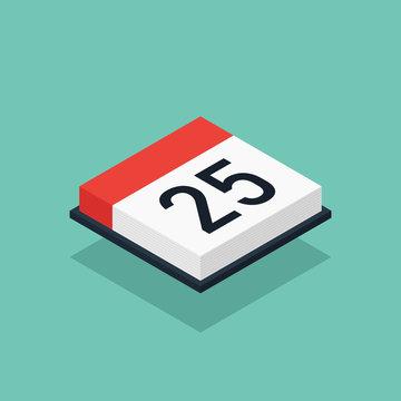 Calendar icon isometric flat design