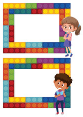 A set of boy and girl puzzle frame