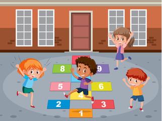 Children playin math game