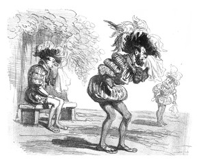 Costume to Dropped, vintage engraving.