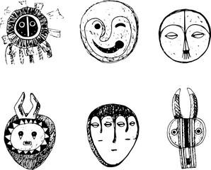 African mask set. Sketch doodle graphic art. Isolated elements collection. Vector illustration