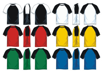 colorful raglan t shirt templates. front look side back.