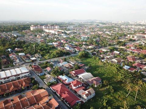 Aerial view of residential and shop lot in Klang,Selangor.