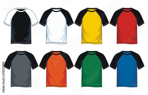 4b4fbc94b Colorful blank raglan t shirt template. vector image