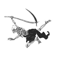 Flying reaper - gothic grim - skull cartoon - black and white