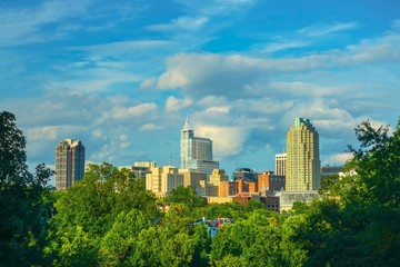 A beautiful high definition daytime landscape of a cloudy downtown Raleigh, North Carolina.