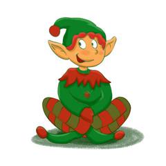 Funny green elf cartoon