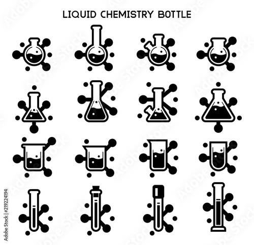 Reaction Of Chemistry Mix Icon Concept Chemical Research Symbols