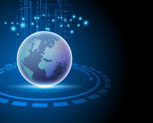 3d World global internet network connection big data information technology connecting business model concepts. Vector illustration eps10