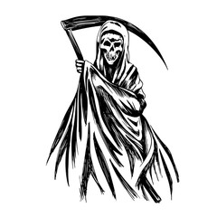 Hand Inked Grim Reaper Illustration black and white