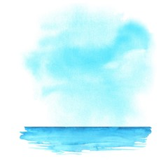 Summer beach. Sea, ocean and sky. Abstract watercolor background