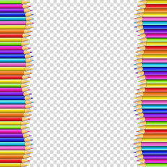 Vector border frame made of colored wooden pencils isolated