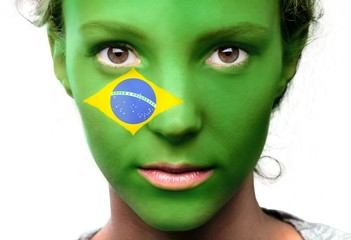 Portrait of a Woman with the Flag of Brazil Painted on her Face