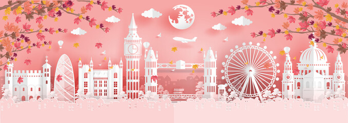 Fototapete - Panorama view of top world famous landmark for travel poster and postcard, Autumn season with falling leaves in England in paper origami style vector illustration.