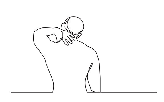 continuous line drawing of man suffering from neck pain