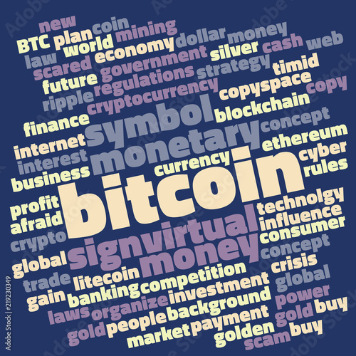 Dark bitcoin word cloud with virtual money and currency