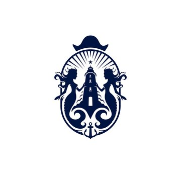 Lighthouse Mermaid Marine Logo Crest