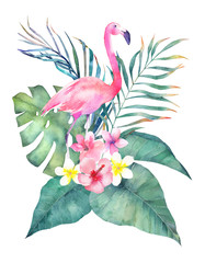 Exotic summer print with flamingo and tropical leaves. Isolated hand drawn  illustration on white background. Watercolor card