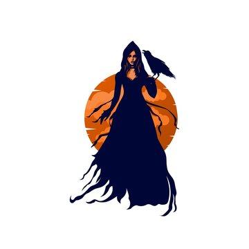 Mysterious Woman Sorcerer holding Raven Bird Logo Illustration