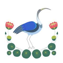 Иллюстрация с декоративным изображением стоящей птицы ибис, а рядом с ней цветов, бутонов, стеблей и листьев лотоса.