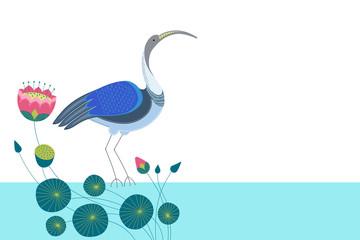 Горизонтальный белый фон для текста с декоративным изображением птицы ибиса, стоящий в голубой воде среди цветов, стеблей, бутонов и листьев лотоса.