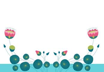 Горизонтальный белый фон для текста с декоративным изображением голубой воды, цветов, стеблей, бутонов и листьев лотоса.