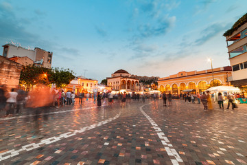 Long Exposure, wide shot at night, Monastiraki square Athens Greece