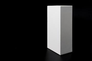 white box isolated on black background close up