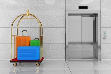 Large Multicolour Polycarbonate Suitcases in Golden Luxury Hotel Luggage Trolley Cart in front of Modern Elevator or Lift with Metal Doors in Hotel Building. 3d Rendering