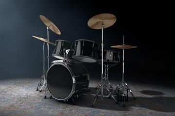 Professional Rock Black Drum Kit in the Volumetric Light. 3d Rendering
