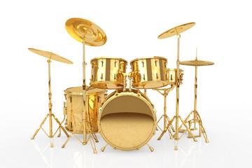 Professional Rock Golden Drum Kit. 3d Rendering
