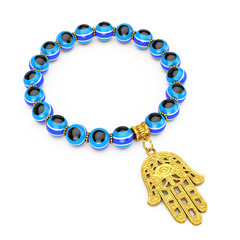Bracelet with Golden Hamsa, Hand of Fatima Amulet and Evil Eye Beads. 3d Rendering