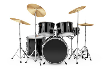 Professional Rock Black Drum Kit. 3d Rendering