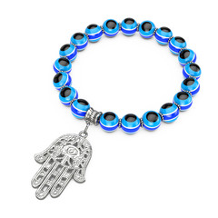 Bracelet with Silver Hamsa, Hand of Fatima Amulet and Evil Eye Beads. 3d Rendering