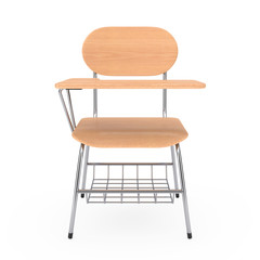 Wooden Lecture School or College Desk Table with Chair. 3d Rendering