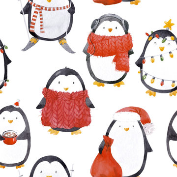 Watercolor christmas baby penguin pattern