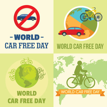 World car free day walking environment banner concept set. Flat illustration of 4 World car free day walking environment vector banner concepts for web
