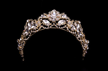 Wall Mural - gold diadem with diamonds isolated on back