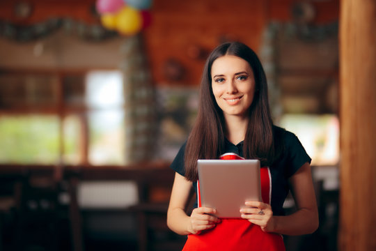 Restaurant Waitress with Pc Tablet Managing Orders